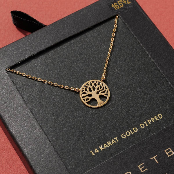 Tree of Life Charm Gold Dipped Necklace - gold