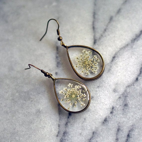 The Pretty Pickle - White Queen Anne's Lace Earrings