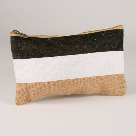Stripe Jute Cosmetic Bag