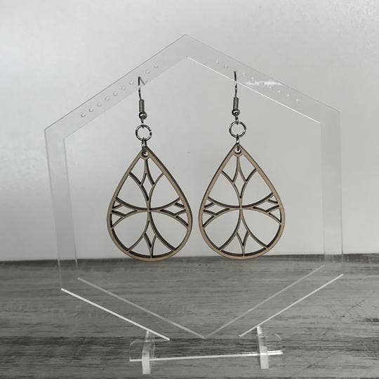 Handmade Stained Glass Drop Wood earrings
