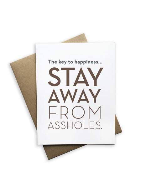 Tiramisu Paperie - The Key To Happiness Stay Away From Assholes Notecard
