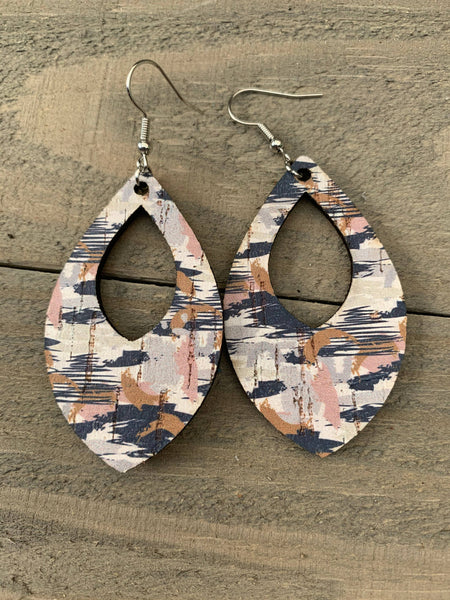 Blue & grey Camo Cork and Leather Teardrop Earrings (Copy)