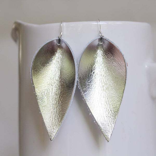 A New Grace - Silver Leather Leaf Earrings