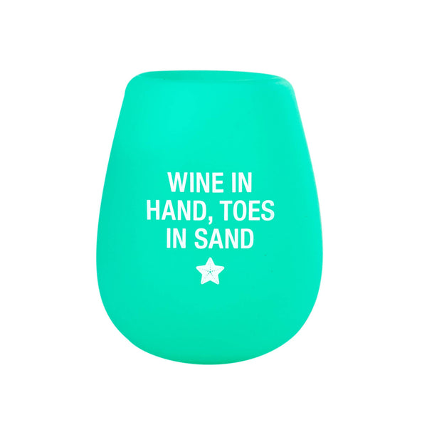 About Face Designs - Toes in Sand Silicone Wine Cup