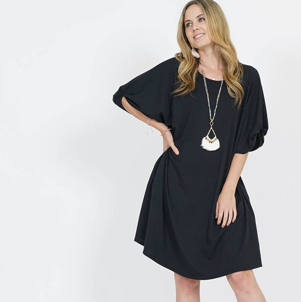 Ainslee Puff Sleeve Two-pocket Dress