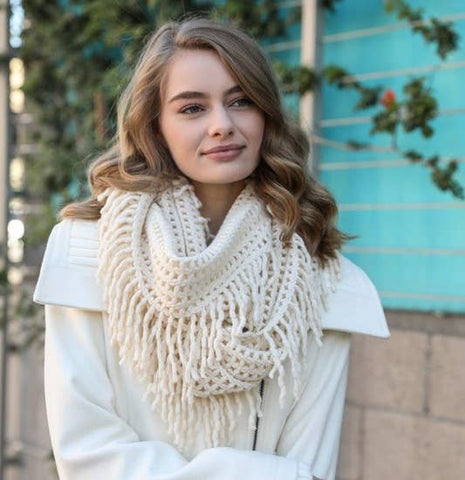 A Perfect Scarf - Lattice Knit Tassel Infinity - cream