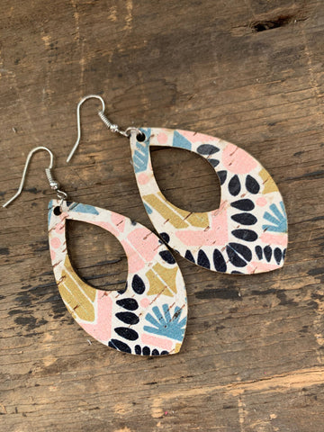 Aztec Cork and Leather Teardrop Earrings