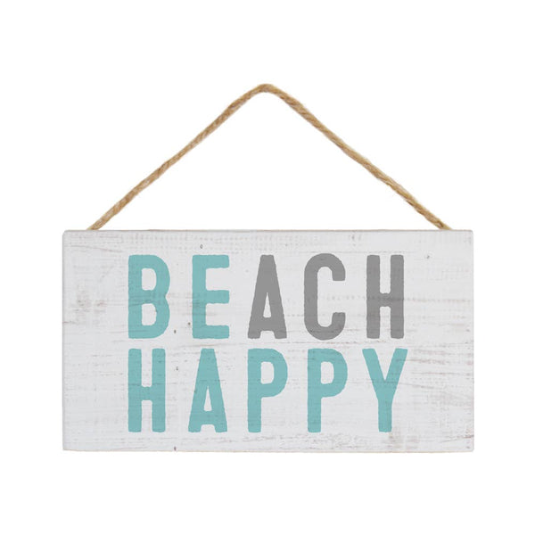 Beach Happy wood hanging sign