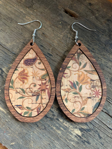 Teardrop wood Earrings with Neutral Floral Cork