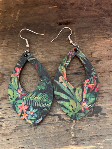 Tropical Floral Cork and Leather Teardrop Earrings