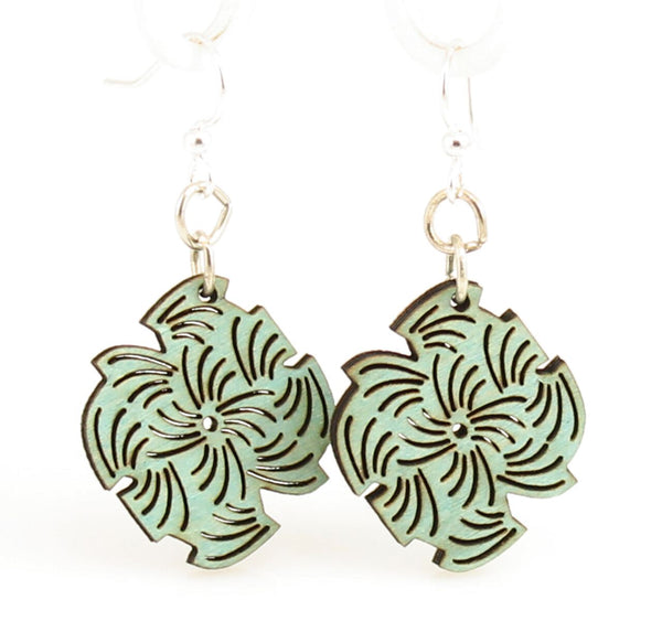 Green Tree Jewelry - Abstract Lined Blossoms Earrings