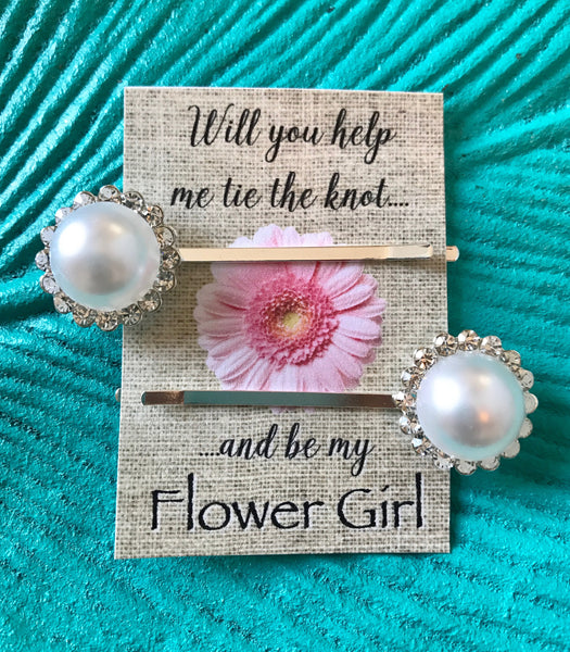 Flower Girl Pearl Hair Pins