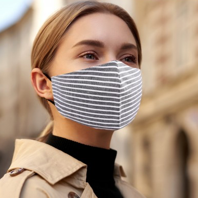 Adjustable teen/adult grey stripe face mask