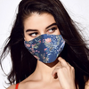 Adjustable teen/adult navy field of flowers face mask