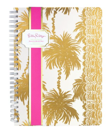 Lilly Pulitzer Mini Notebook- Metallic Palms
