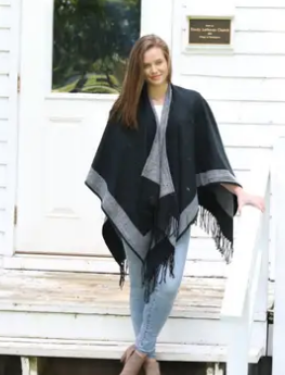 Classic Reversible Cozy Poncho - Black & Gray with Fringe