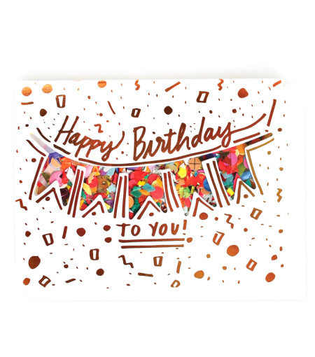Thimblepress - Happy Birthday Confetti-Filled + Copper Foil Stamped Card