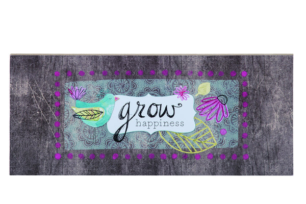 Transpac - Grow Happiness Woodgrain Wall Art