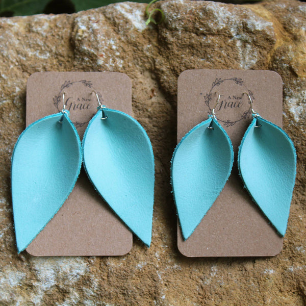 A New Grace - Custom Tiffany Blue Leather Earrings