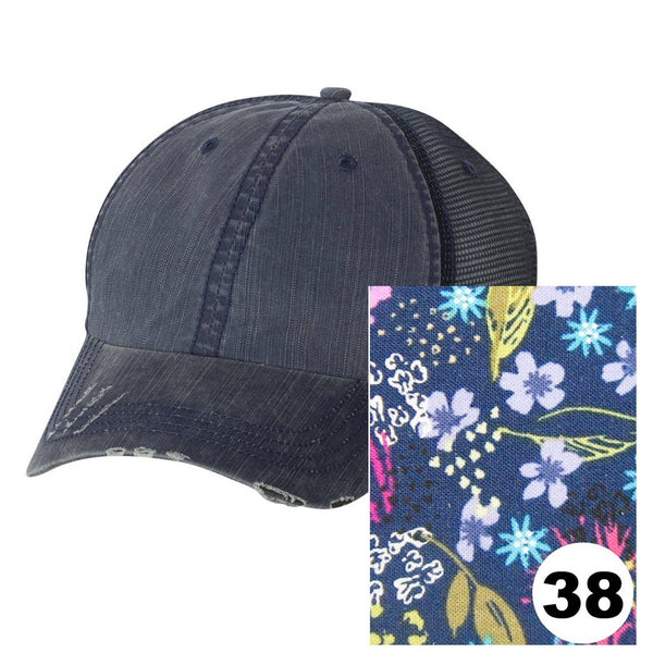 Gracie Designs - Maryland Distressed Trucker Hat - Many Fabric/Cap Combos