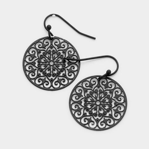Round Filigree Laser Cut Earrings - black