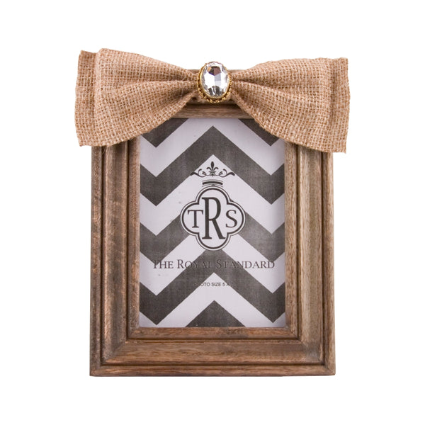 Jeweled Burlap Bow Frame 5x7