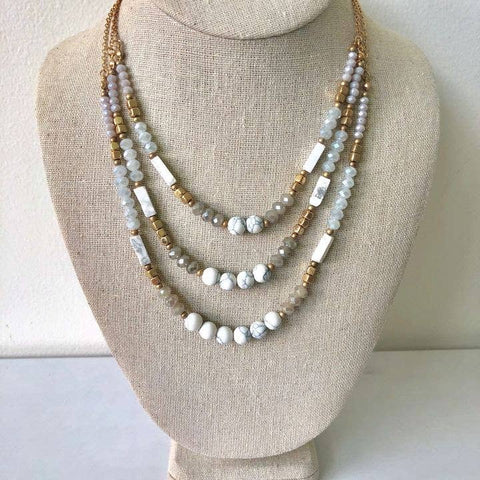 Ava Layered Beaded Necklace - Grey