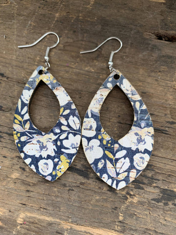 Blue Poppy Cork and Leather Teardrop Earrings
