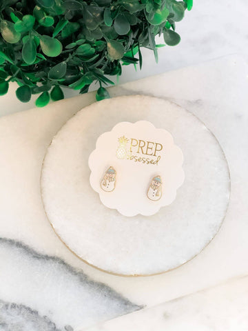 Prep Obsessed Wholesale - Cozy Snowman Signature Enamel Studs