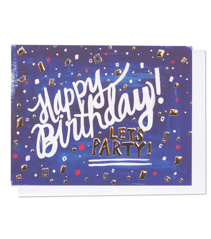 Thimblepress - Happy Birthday Single Silver Foil + Embossed Card
