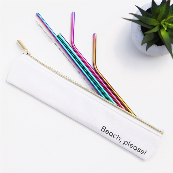 Last Straw - Beach Please Straw Set Waterproof Lined Bag - 6 Pieces