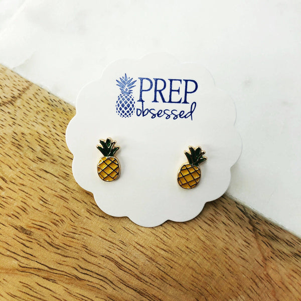 Prep Obsessed Wholesale - Pineapple Enamel Stud Earrings