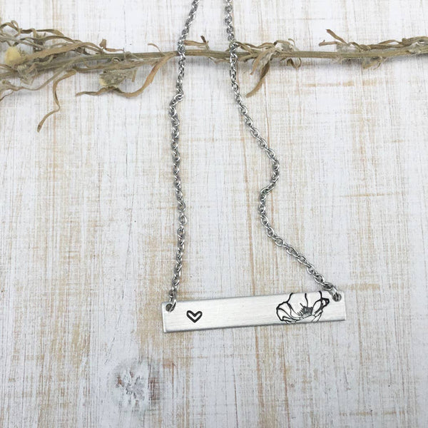 Jamie Haley Designs - Poppy flower (option #2) simple bar necklace