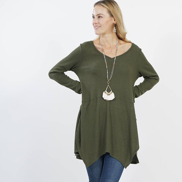 Army green V-Neck sidetail patch tunic - large