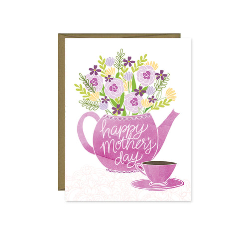 Pen & Paint - Happy Mother's Day tea pot & flowers