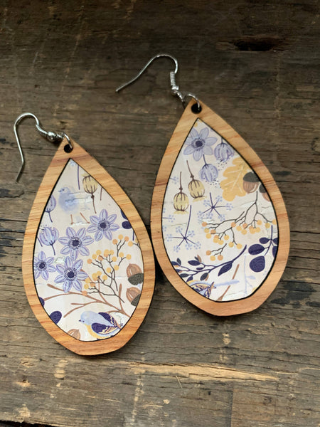 Cork & wood Wildflower Teardrop Earrings