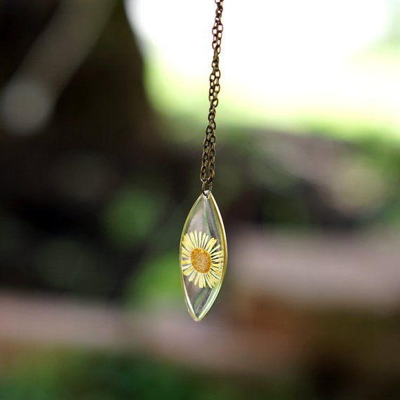 The Pretty Pickle - Yellow Daisy Pendant Necklace