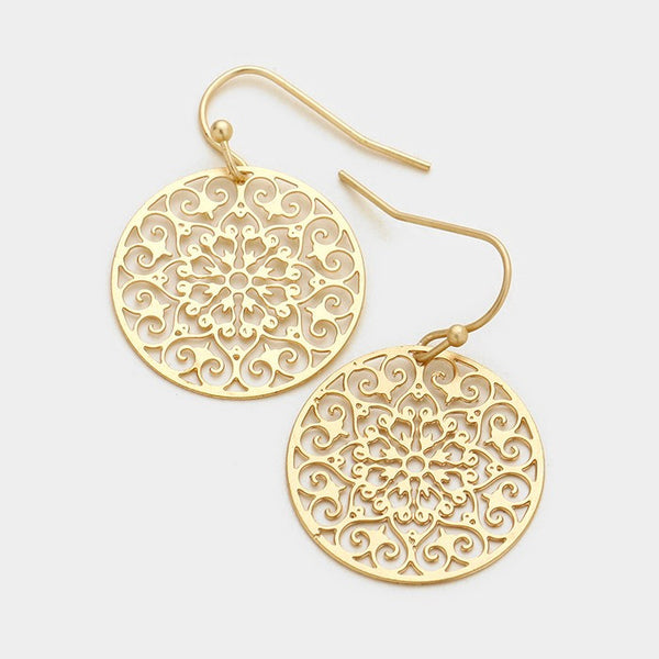 Round Filigree Laser Cut Earrings - Gold
