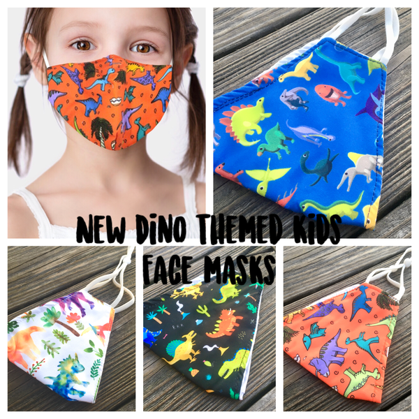 Adjustable Kid Face Mask - watercolor dino