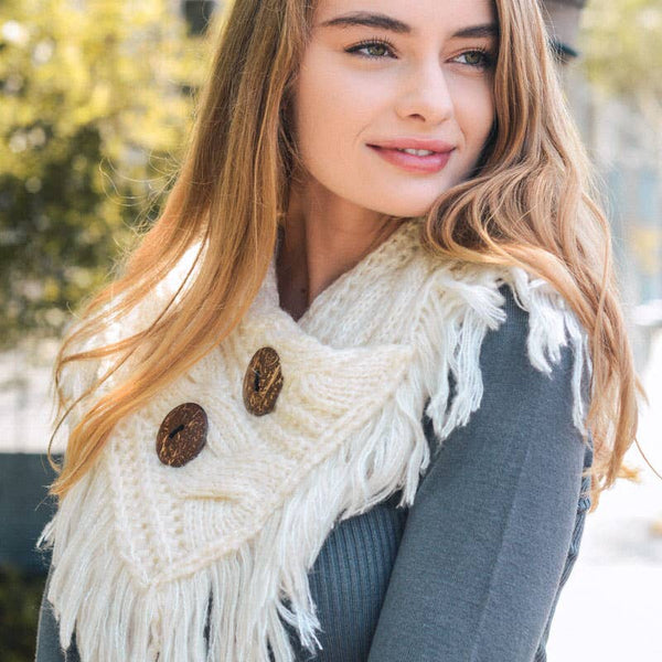 Heathered Infinity Scarf w/buttons Ivory