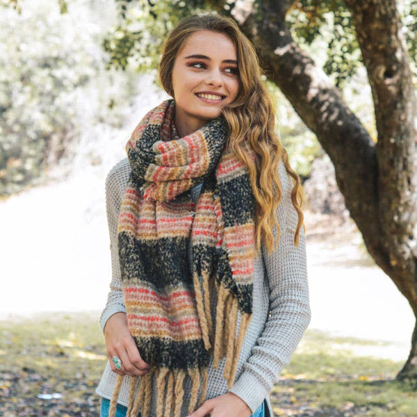 Soft Multicolor Stripe Tassel Scarf  - charcoal