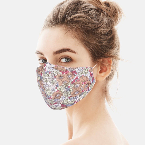 Adult face mask - adjustable cotton wildflowers