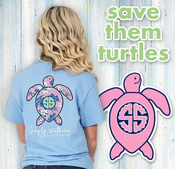 Simply Southern Save the Turtles Blue Tee