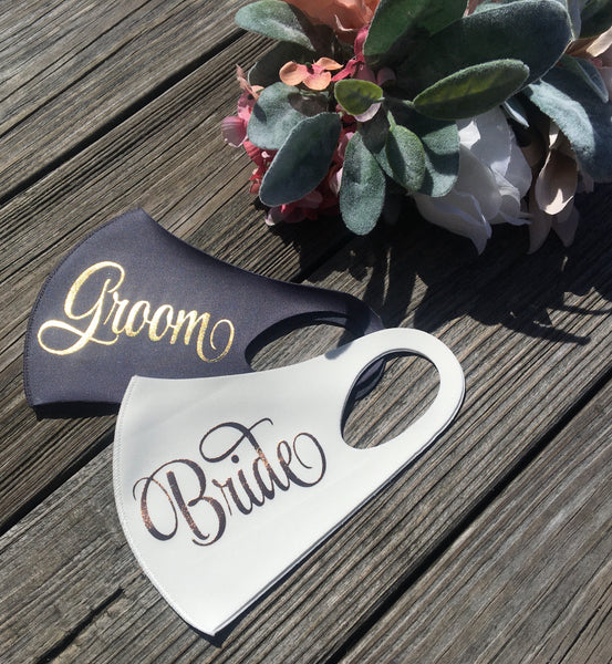 Bride & Groom Handmade face mask set