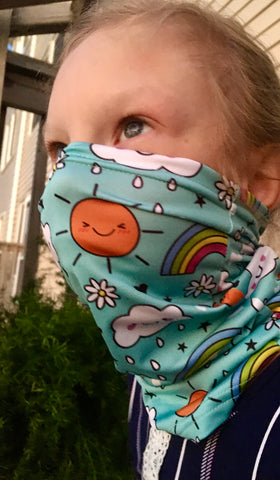 Children's Neck Gaiter/face mask - Turquoise rainbow