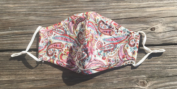 Adjustable cotton face mask - multi paisley