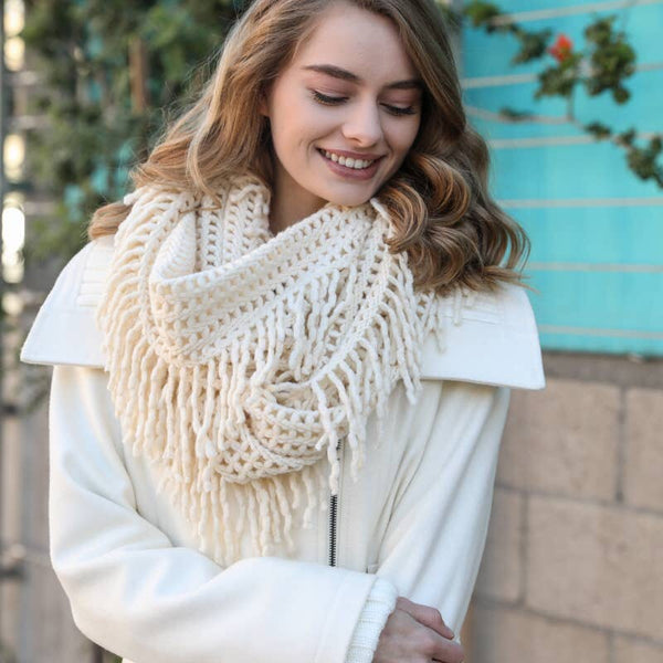 Lattice Knit Tassel Infinity Scarf - Ivory