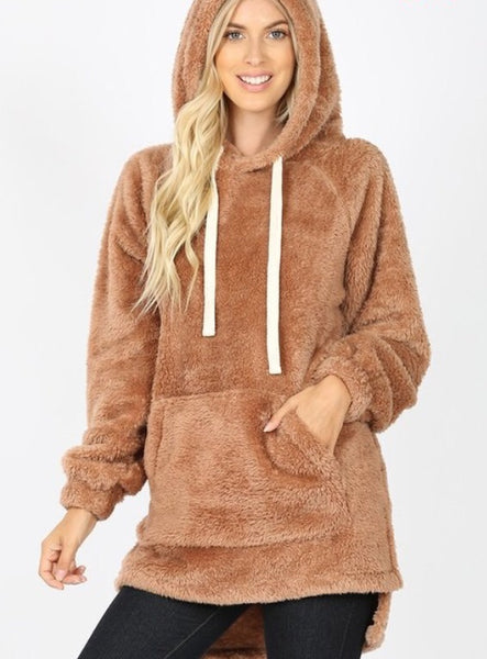 Aria faux fur Hooded Sweatshirt - latte