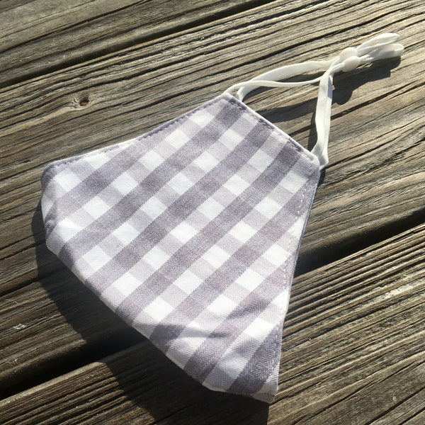 Adjustable cotton face mask - Grey buffalo check