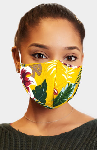 Adult face mask - adjustable tropical yellow